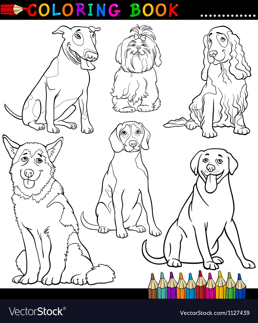 - Cartoon Dogs Or Puppies Coloring Page Royalty Free Vector