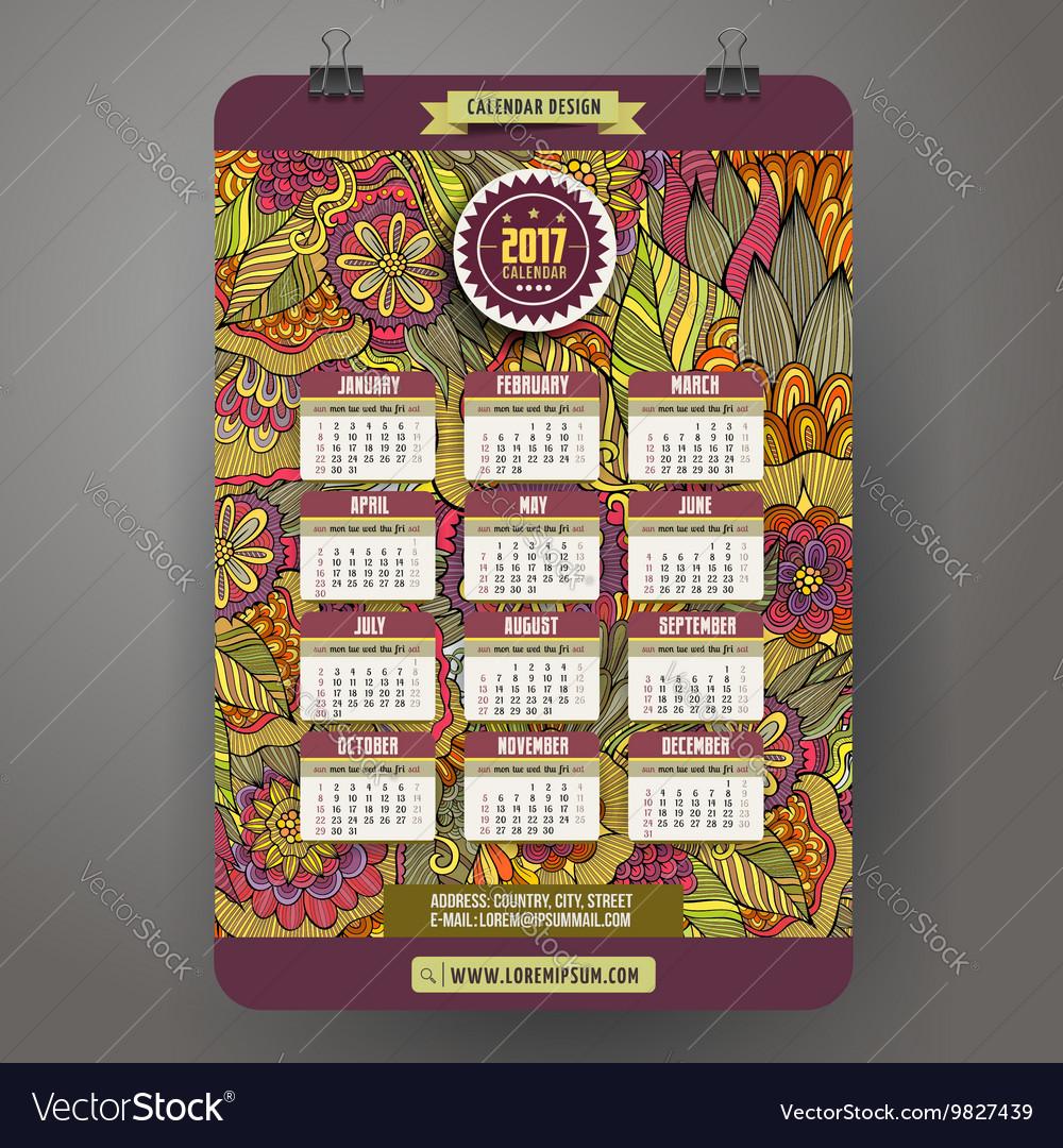 Cartoon doodles floral 2017 year calendar vector image
