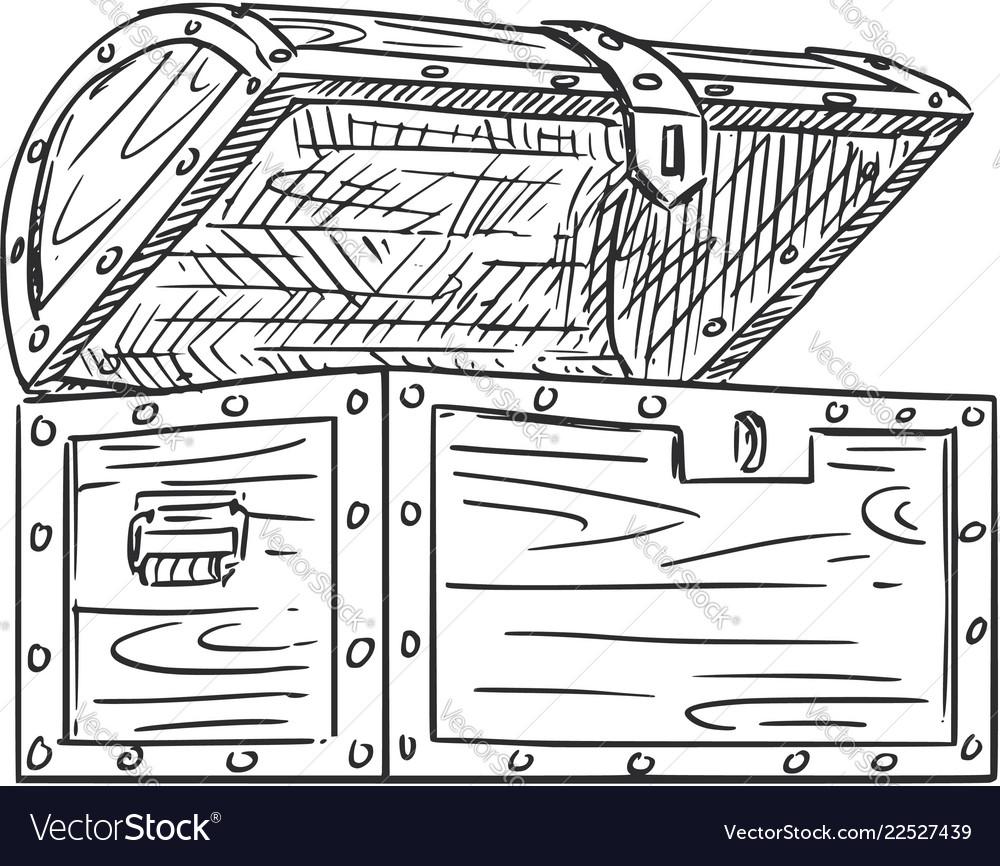 Cartoon drawing empty open wooden treasure