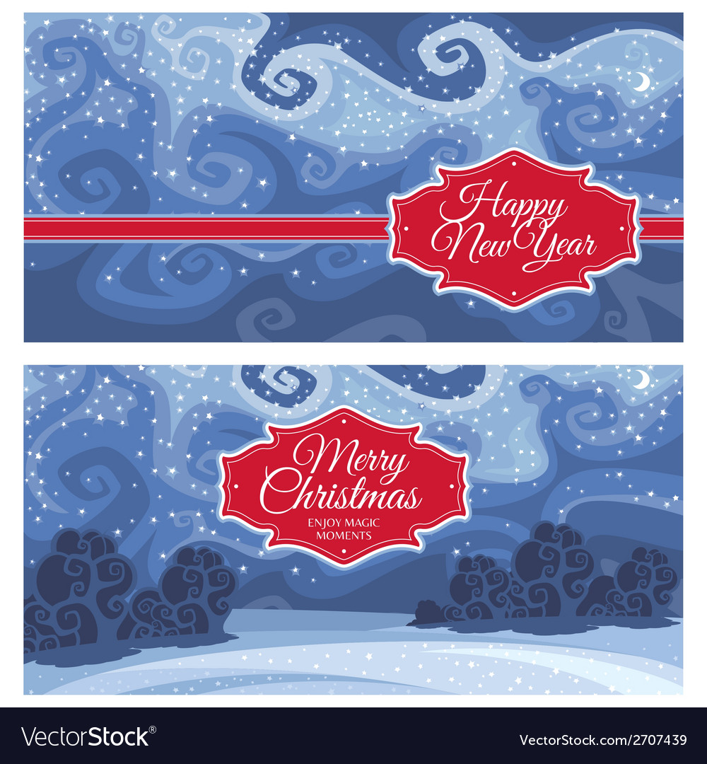 Christmas And New Year Greeting Cards Royalty Free Vector
