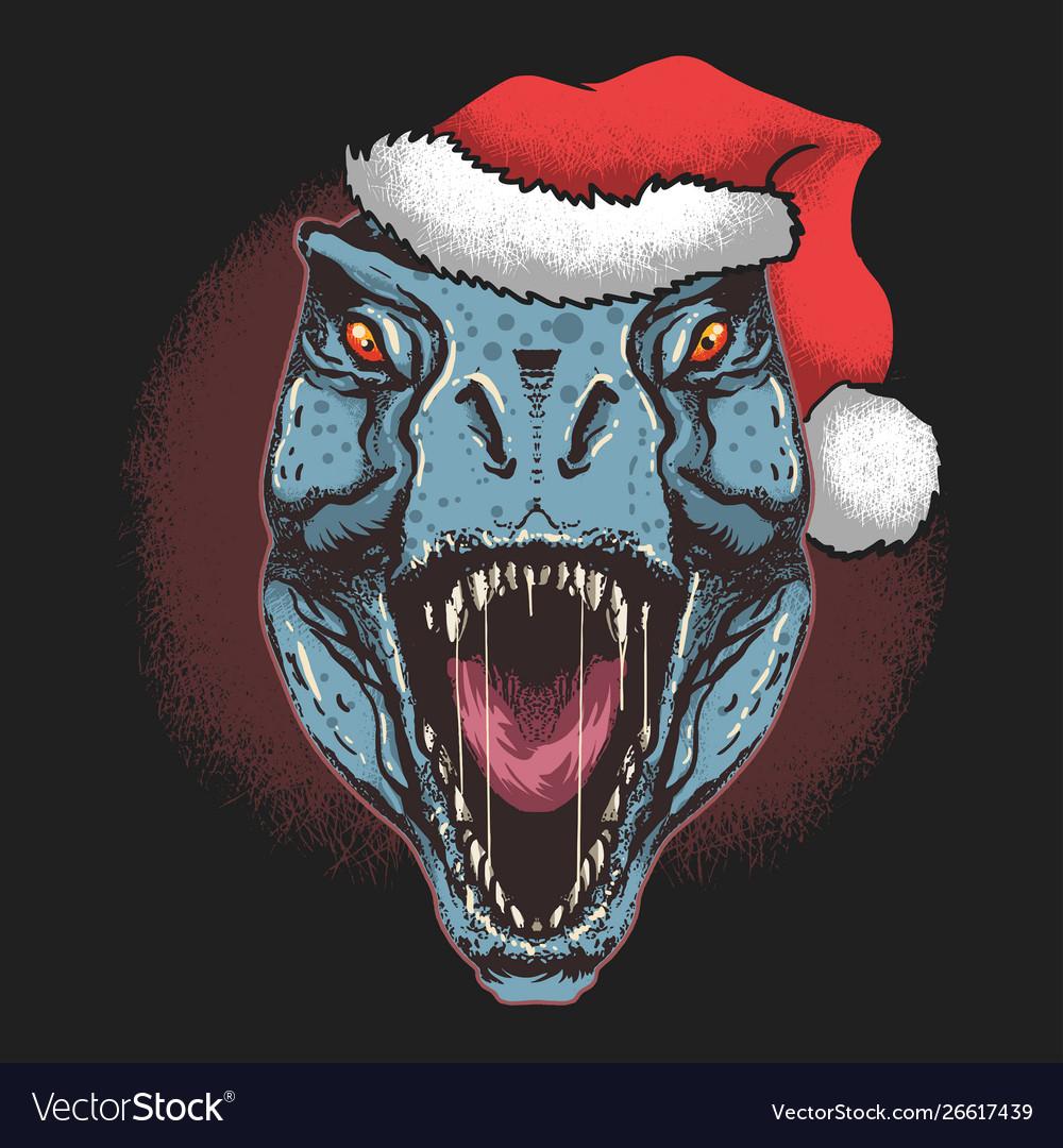 Dinosaur t-rex with santa claus christmas hat