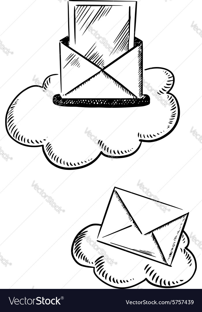 E Mail Symbols With Letters And Clouds Royalty Free Vector