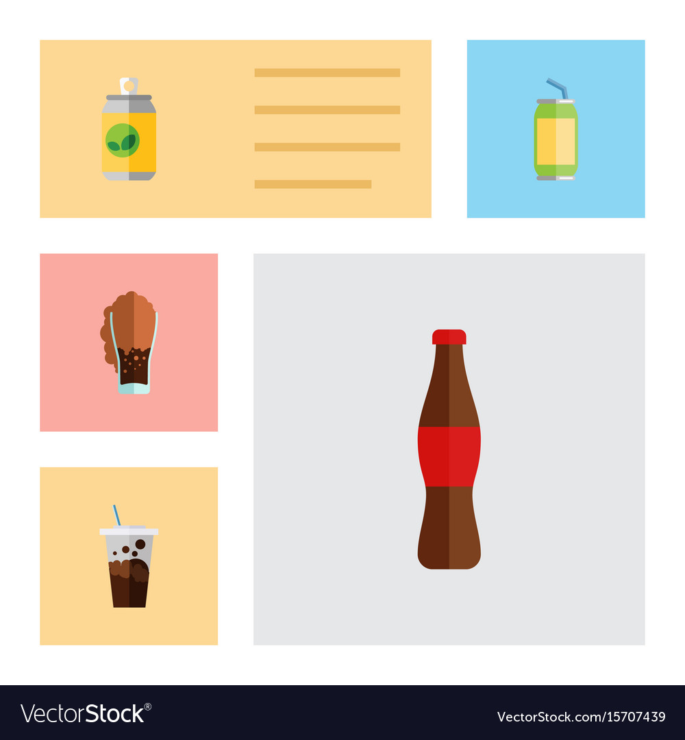 Flat icon beverage set of cola soda carbonated vector image