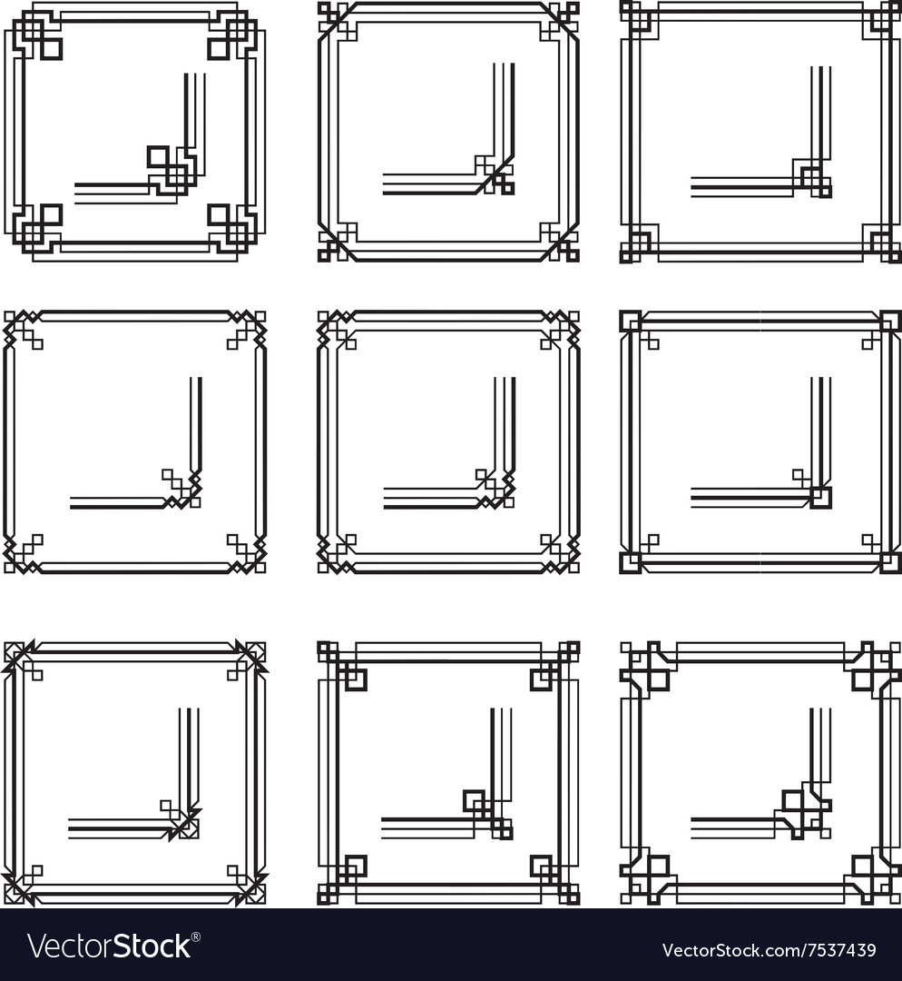 eb8a6ad681a6 Frames Borders Art Deco Style Set2 Royalty Free Vector Image