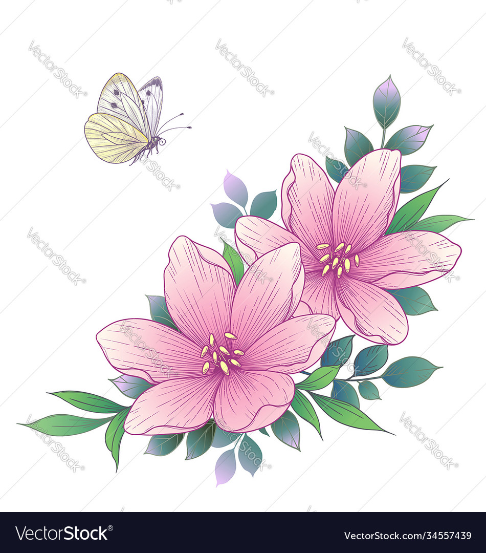 Hand drawn pink flowers and flying butterfly