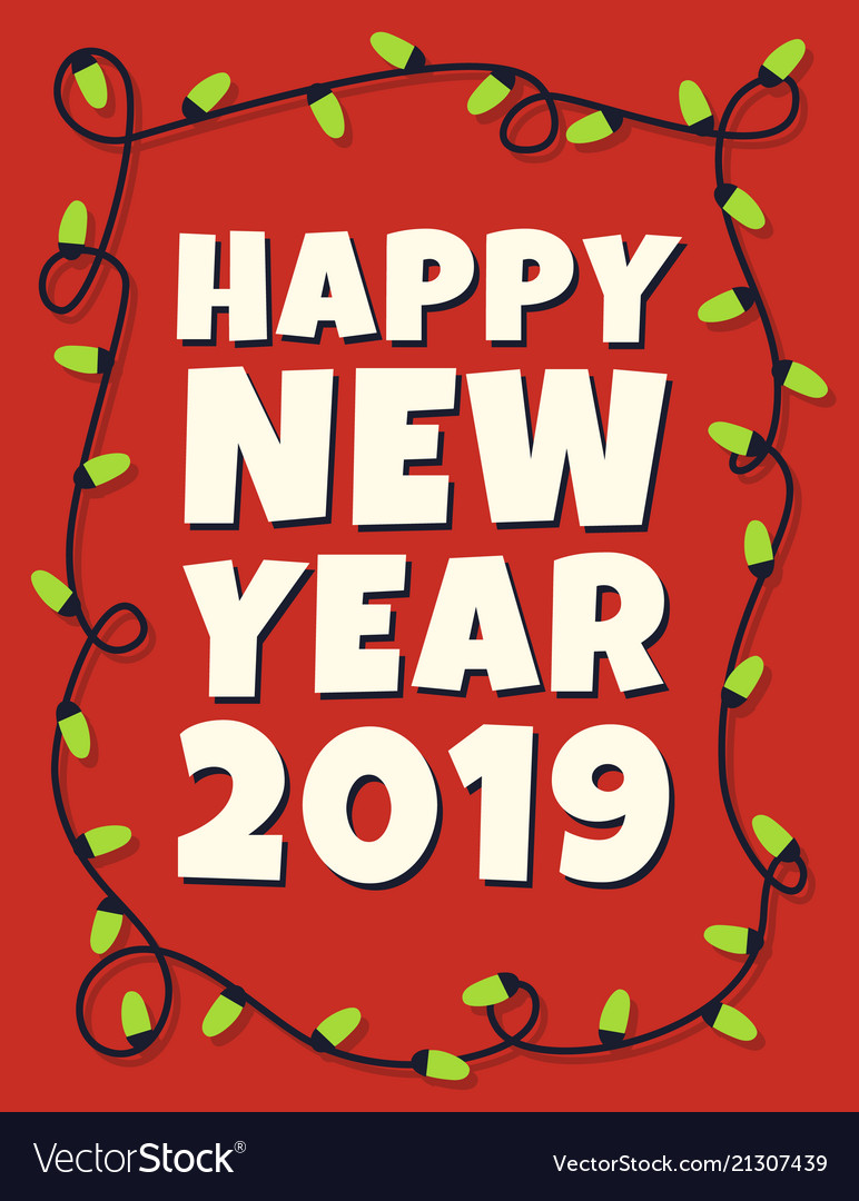 Happy 2019 new year card with garland