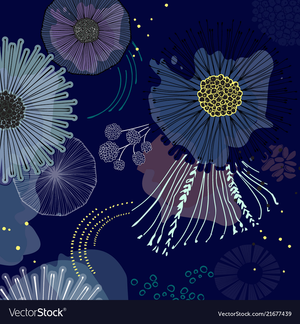 Magic Bloom Flowers Blossom On Navy Background Vector Image
