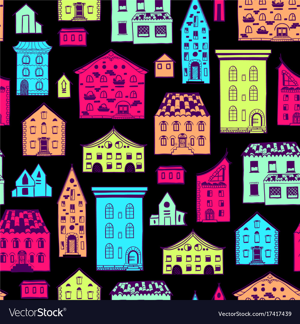 Seamless pattern color houses-06