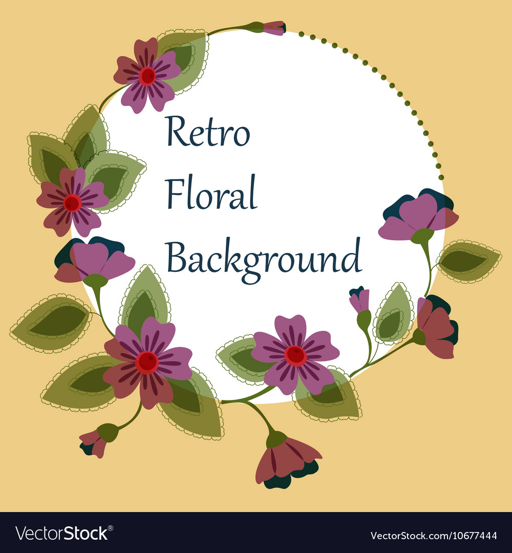 Background with round floral banner retro vector image