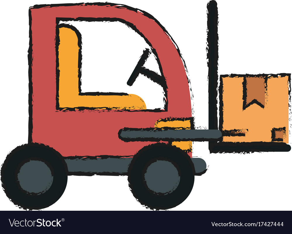 Cardboard boxes on forklift vector image