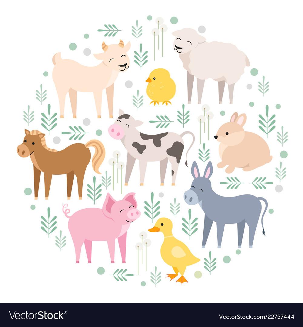 Cute farm animals cow pig lamb donkey bunny