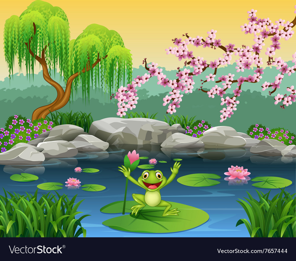 Cute frog jumping on the lily water