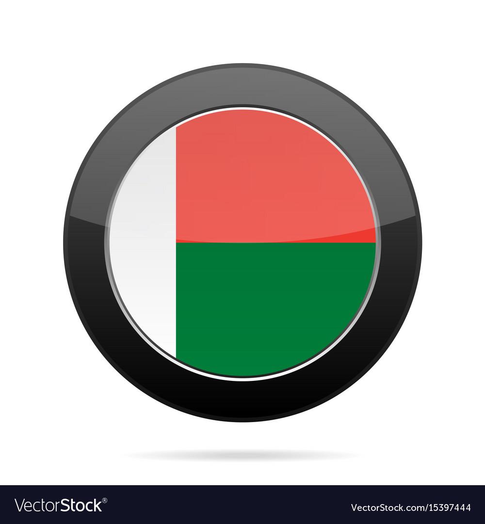 Flag of madagascar shiny black round button