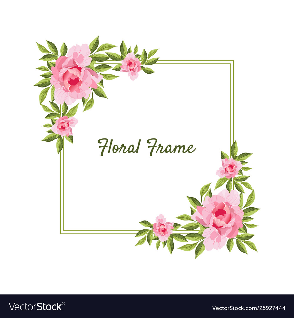 Flowers square frame card template with blooming