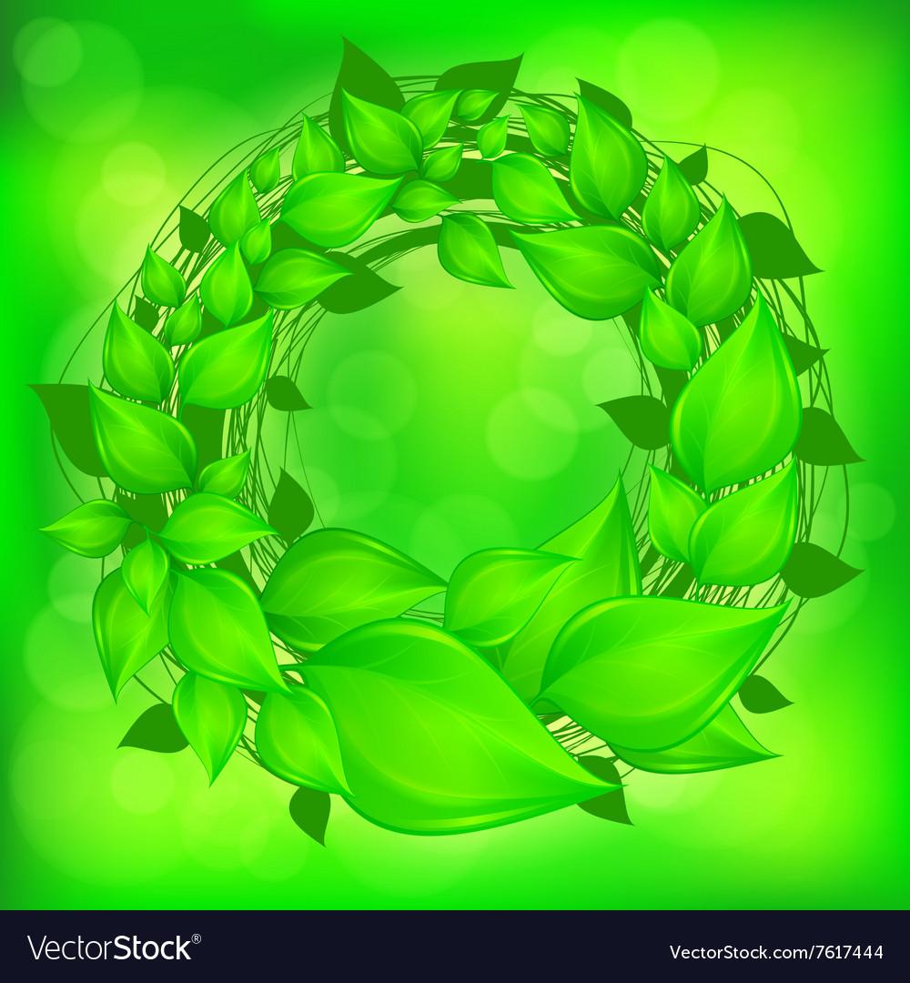 Green leaves wreath