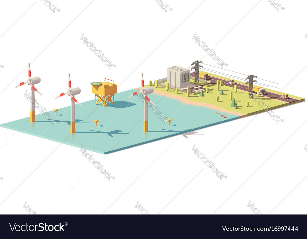 Low poly wind turbines power plant