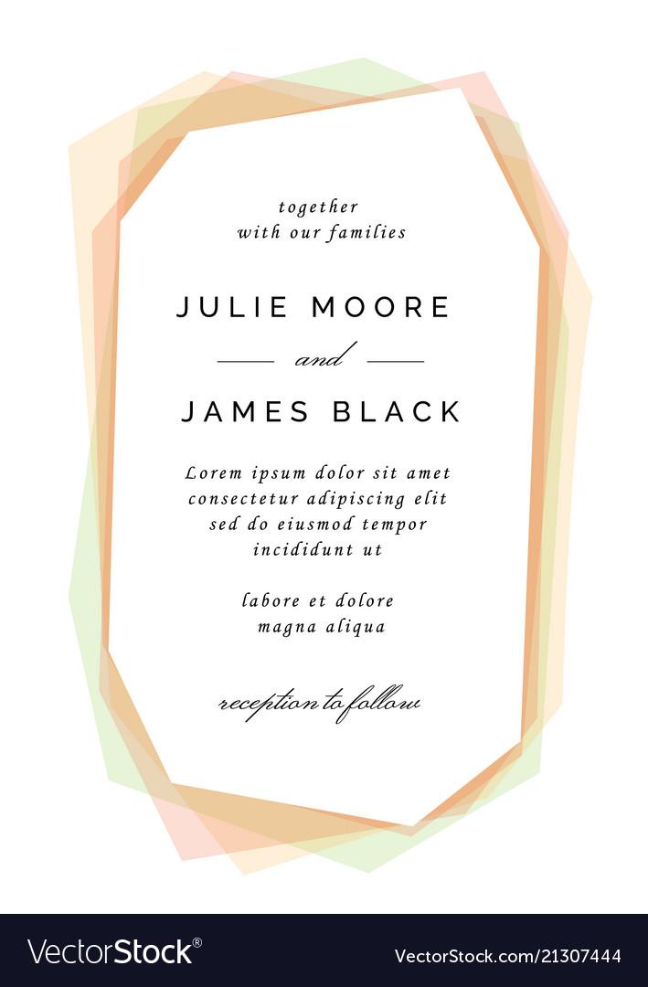 Modern colorful wedding invitation template Vector Image