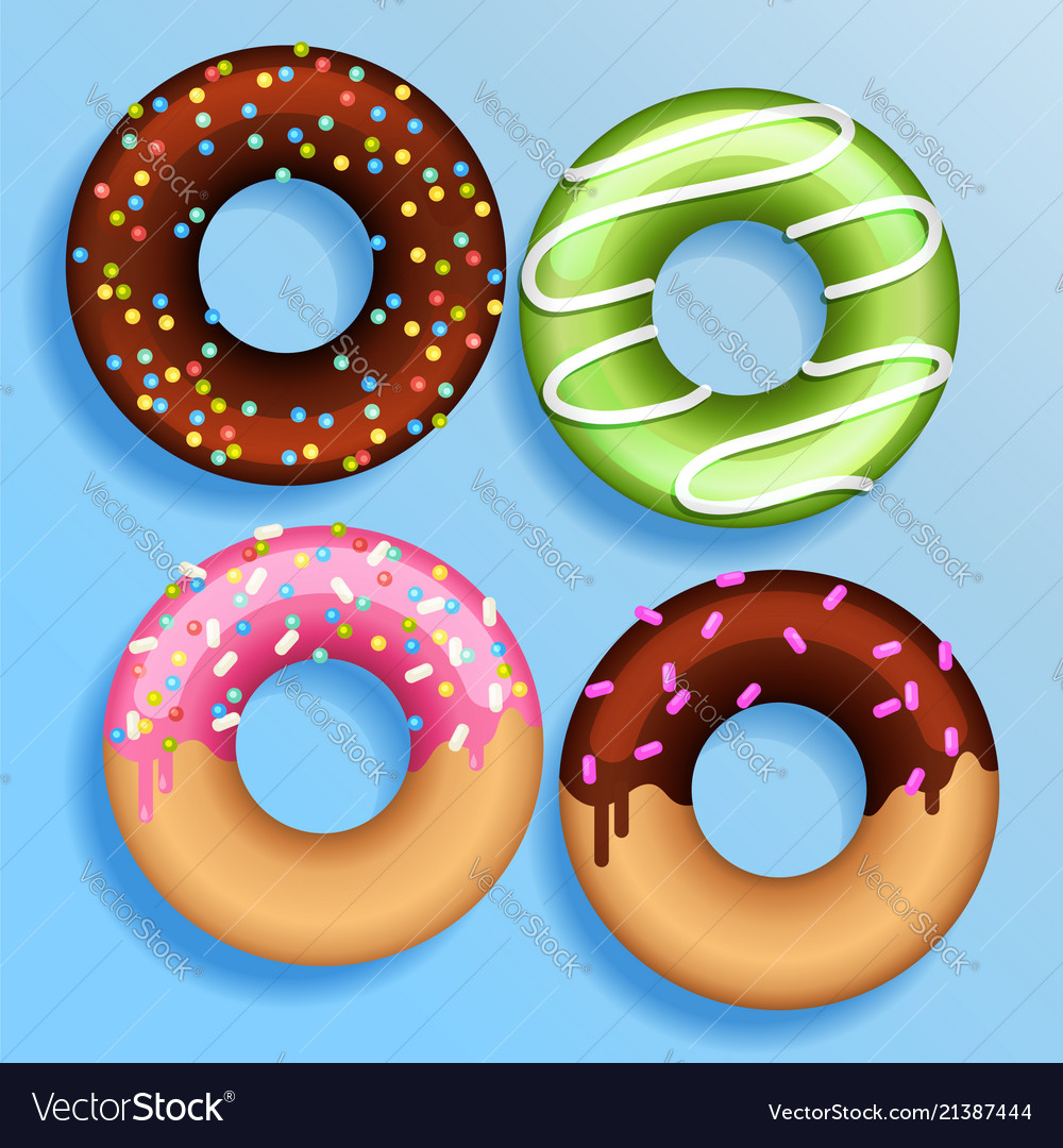 Set of 4 color donuts in modern flat style donut