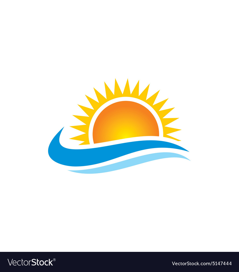 Sun shine beach ocean water logo