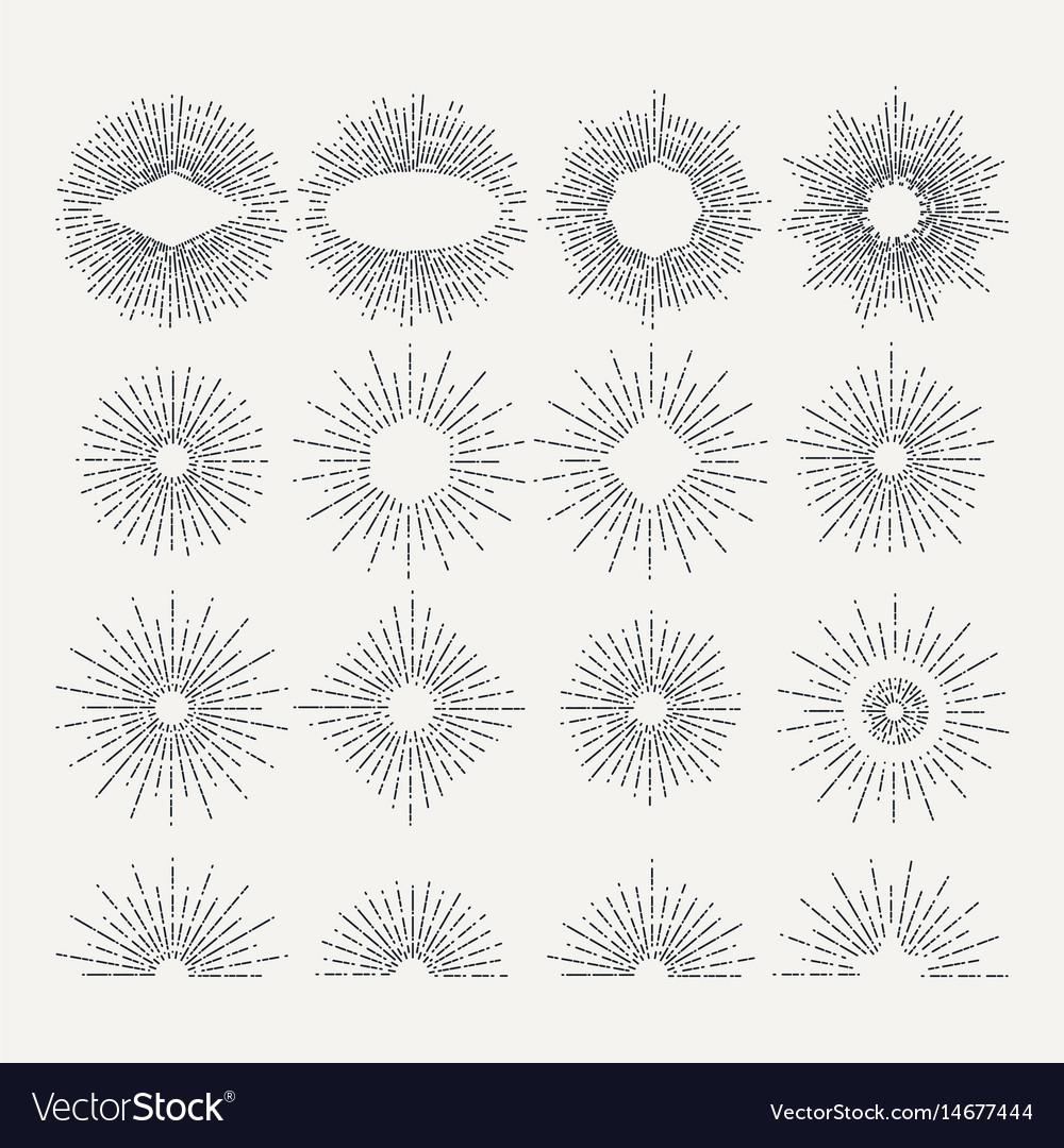 Sunburst set circle shapes design