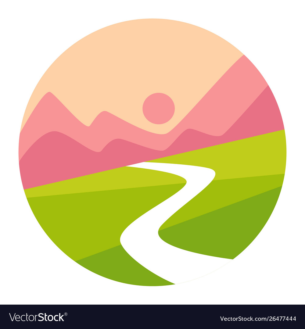 Sunset mountains and valley isolated icon