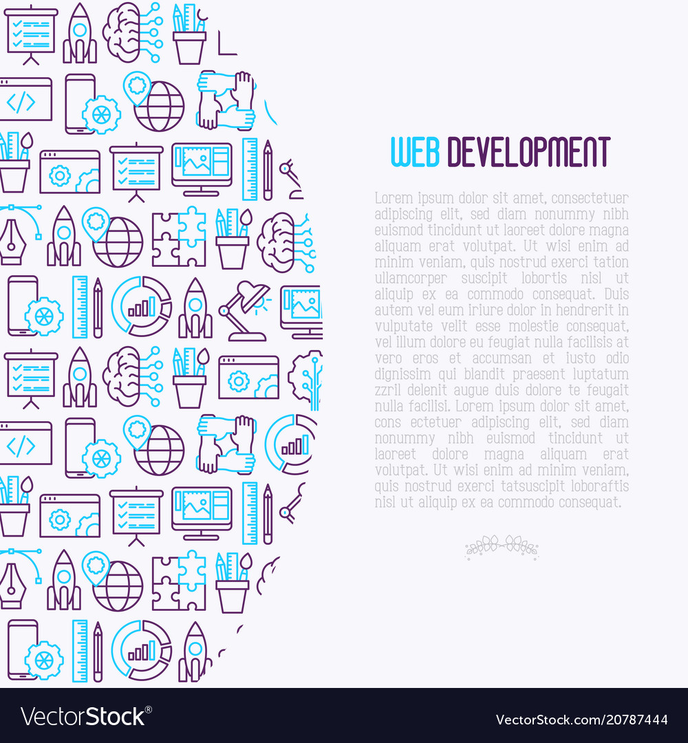 Web development concept with thin line icons