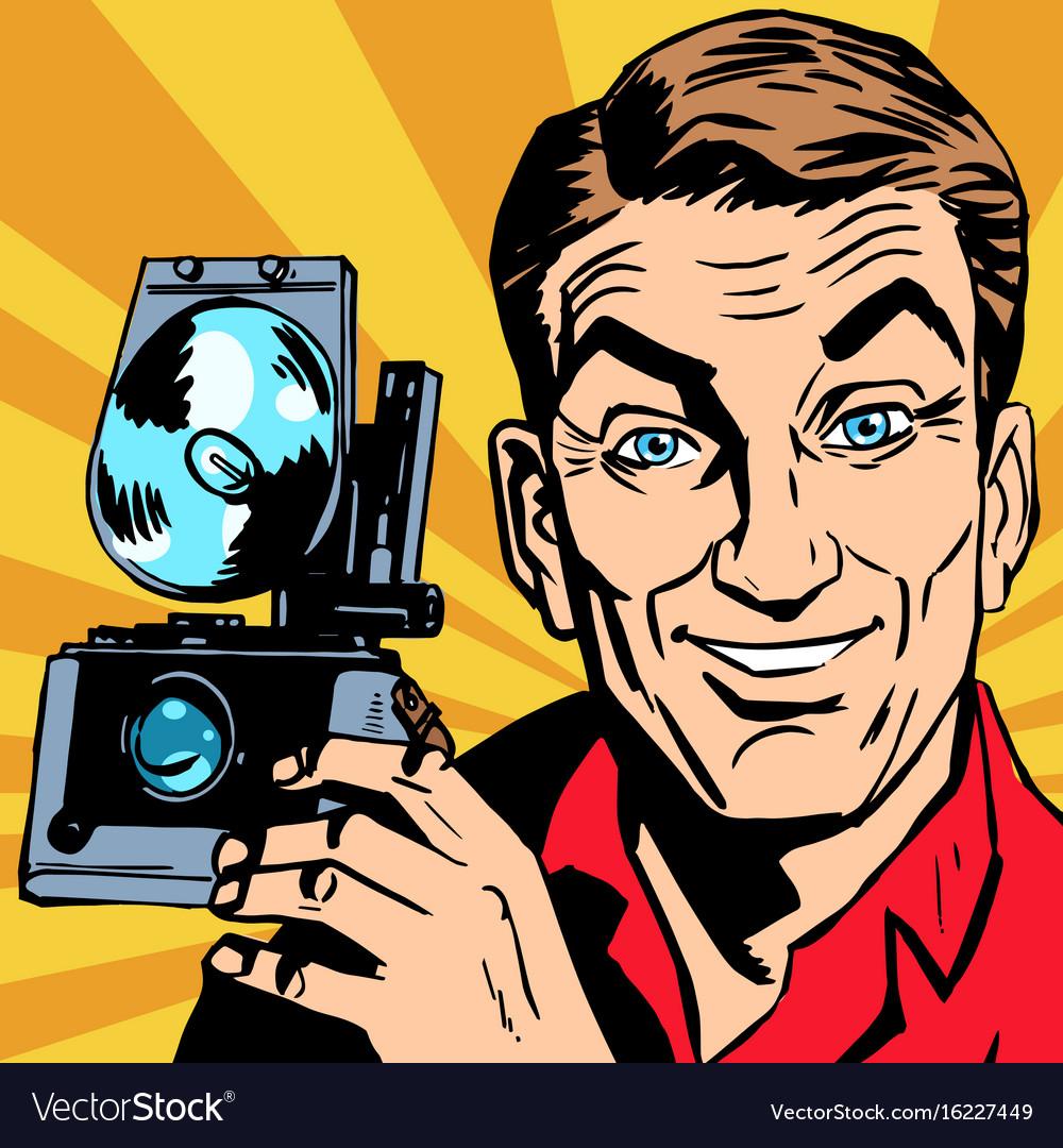 картинка мужчина с фотоаппаратом вектор карта