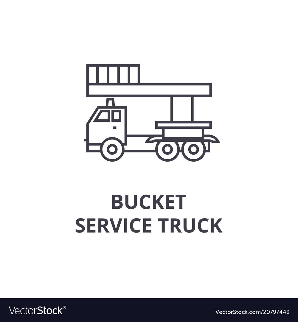 Bucket service truck line icon sign