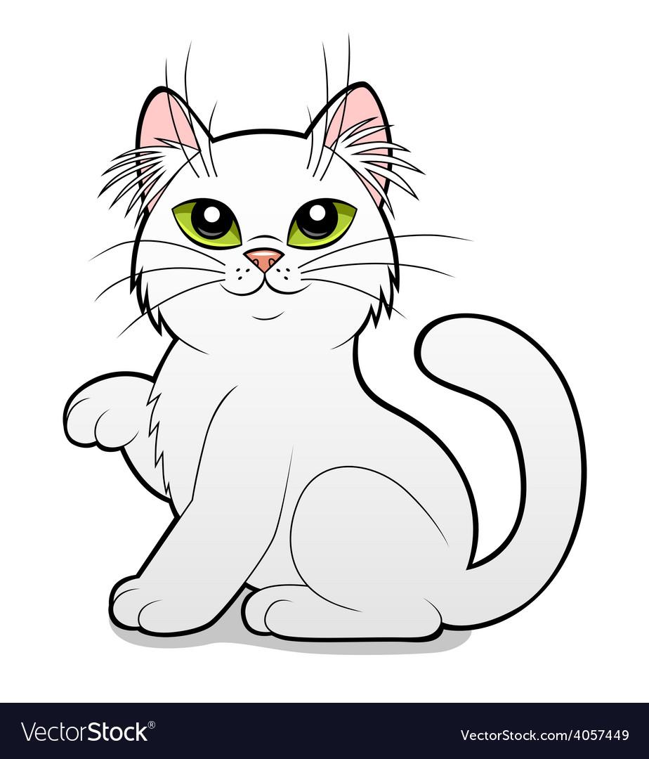 Cartoon white cat