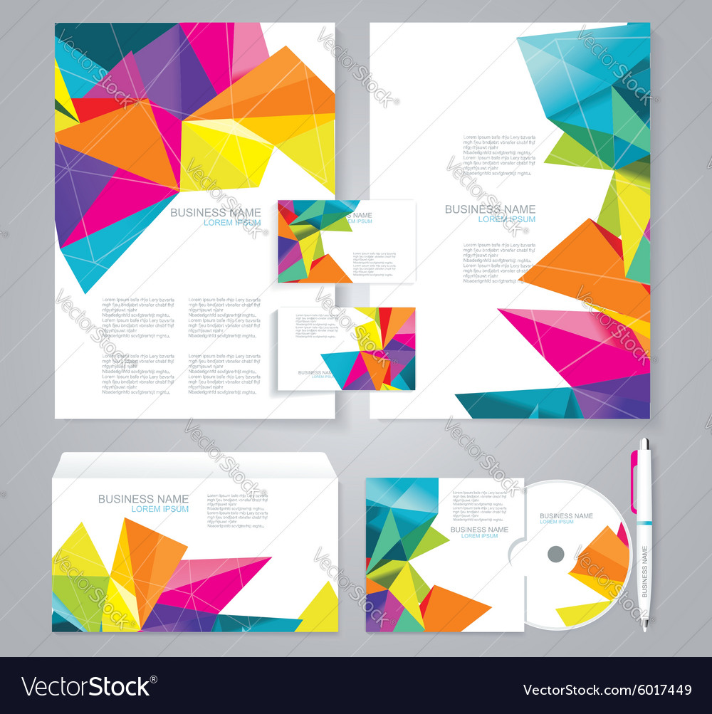 Corporate identity template with blue and green