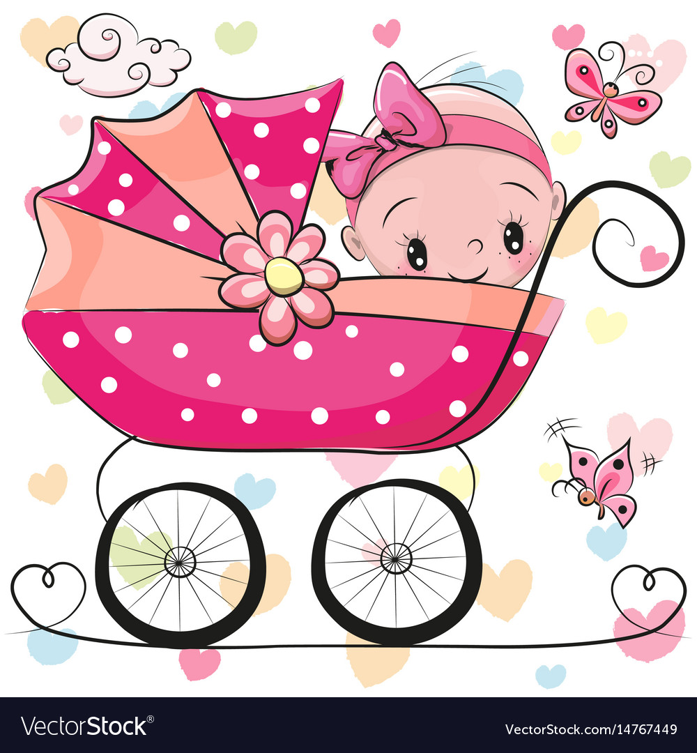 Cute Cartoon Baby Girl Is Sitting On A Carriage Vector Image