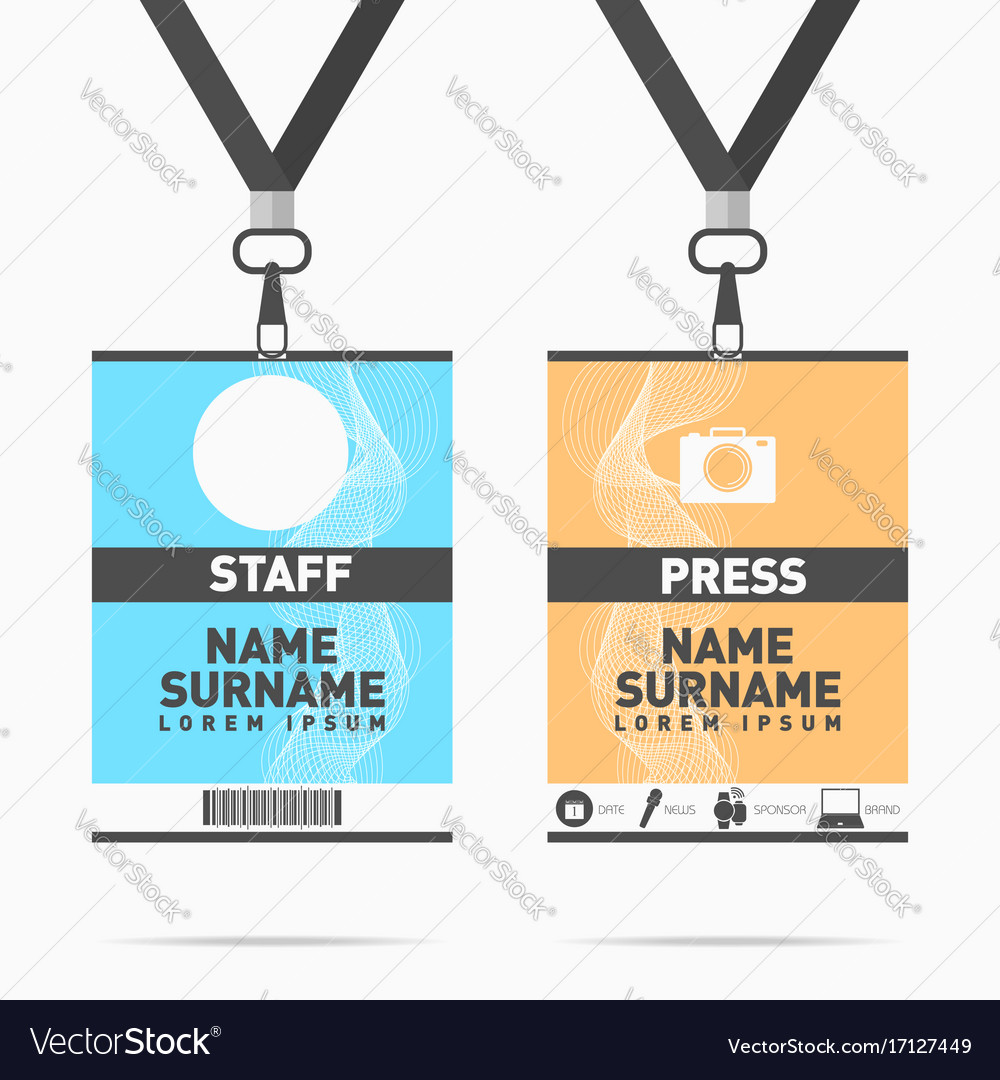 Event staff and press id cards set with lanyards
