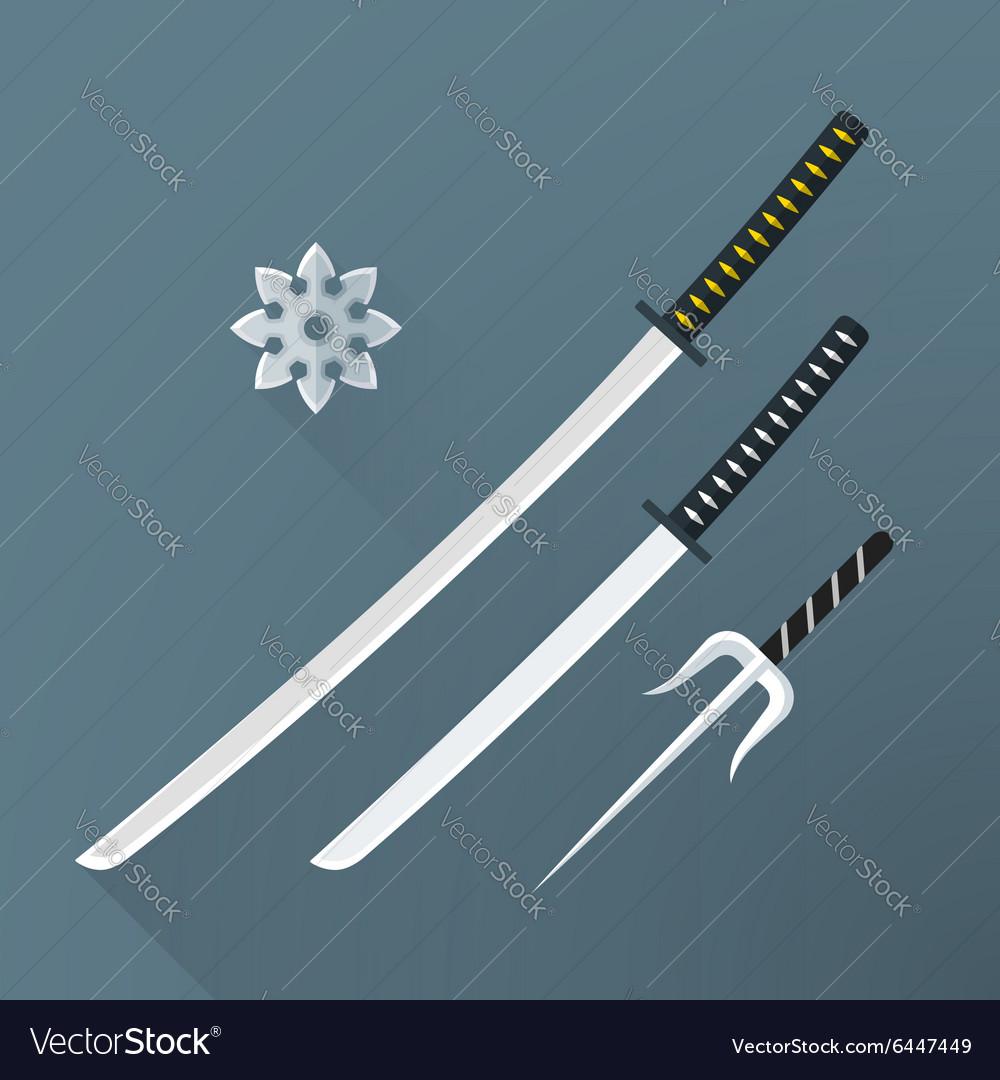 Flat samurai weapon set icon