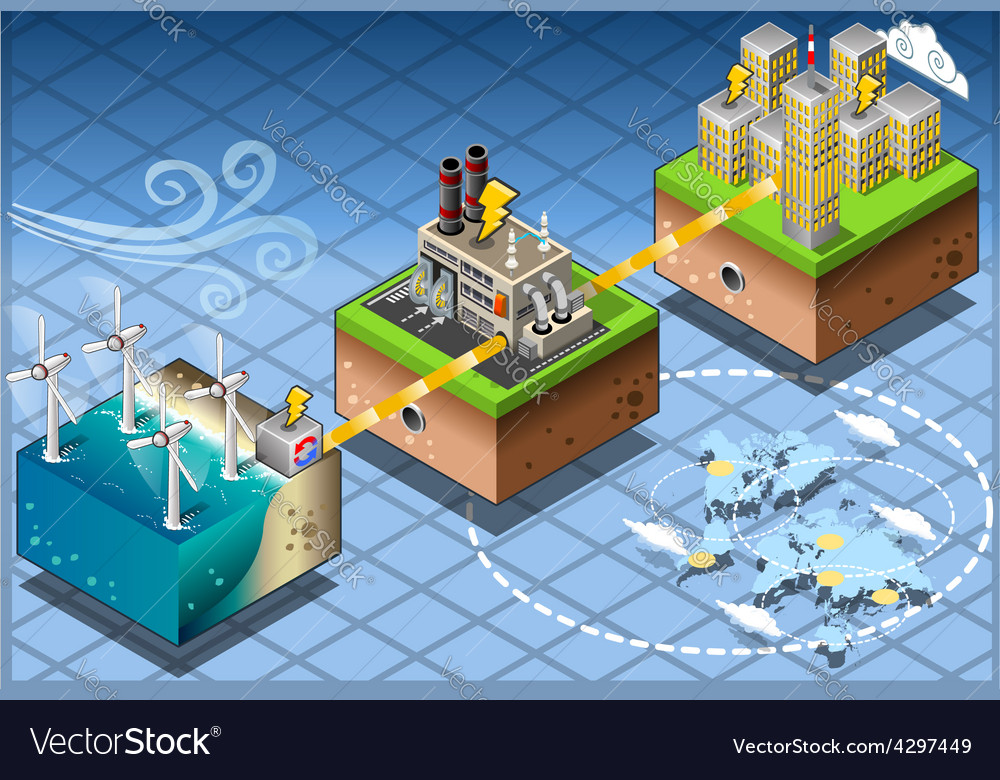 Isometric Infographic Windmill Offshore Renewable