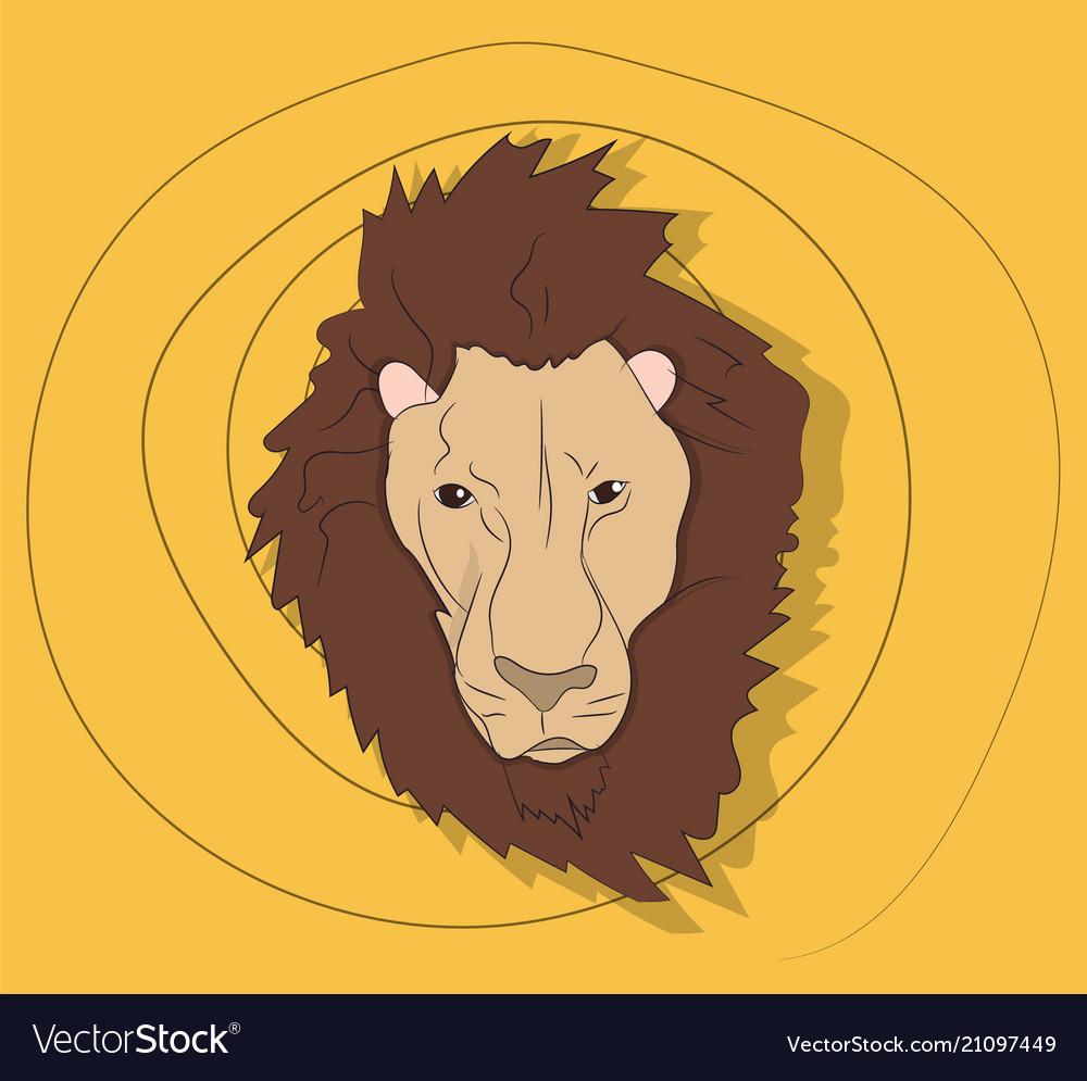 Lion portrait on a colored background