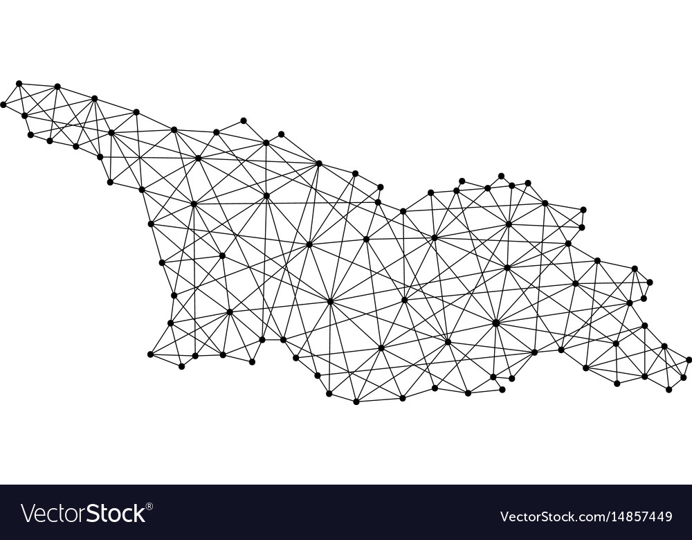 Map of georgia from polygonal black lines and dots vector image