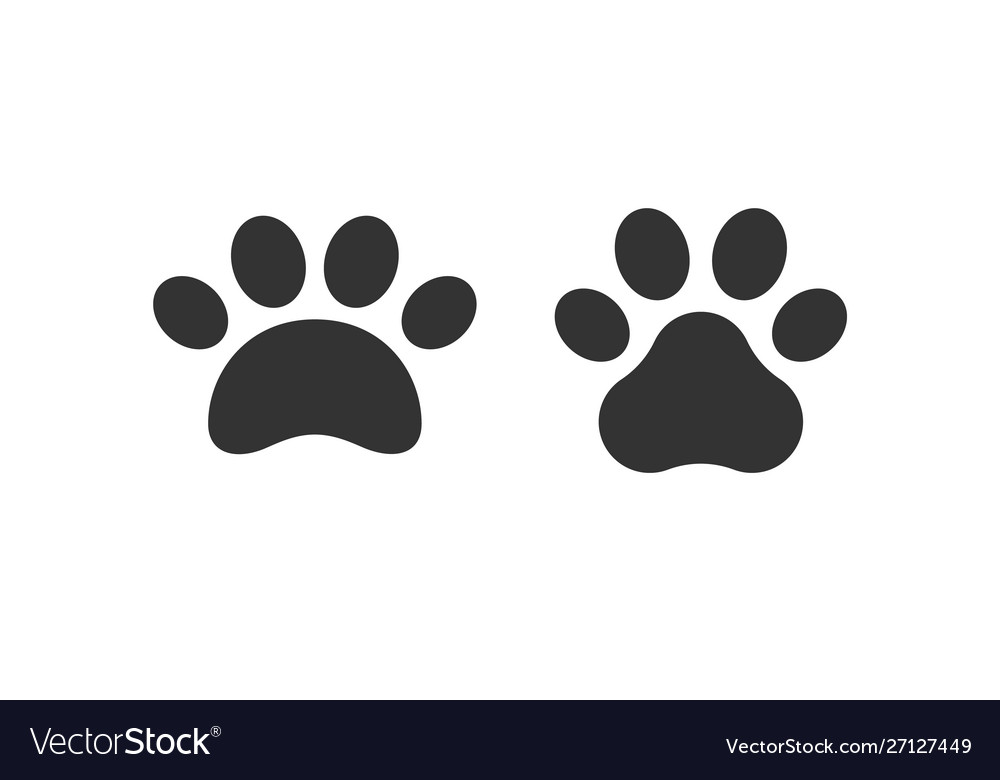Pet paw print icon dog or cat foot black