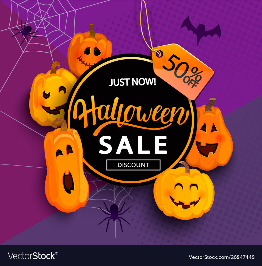 Sale and 50 percent discount banner for halloween