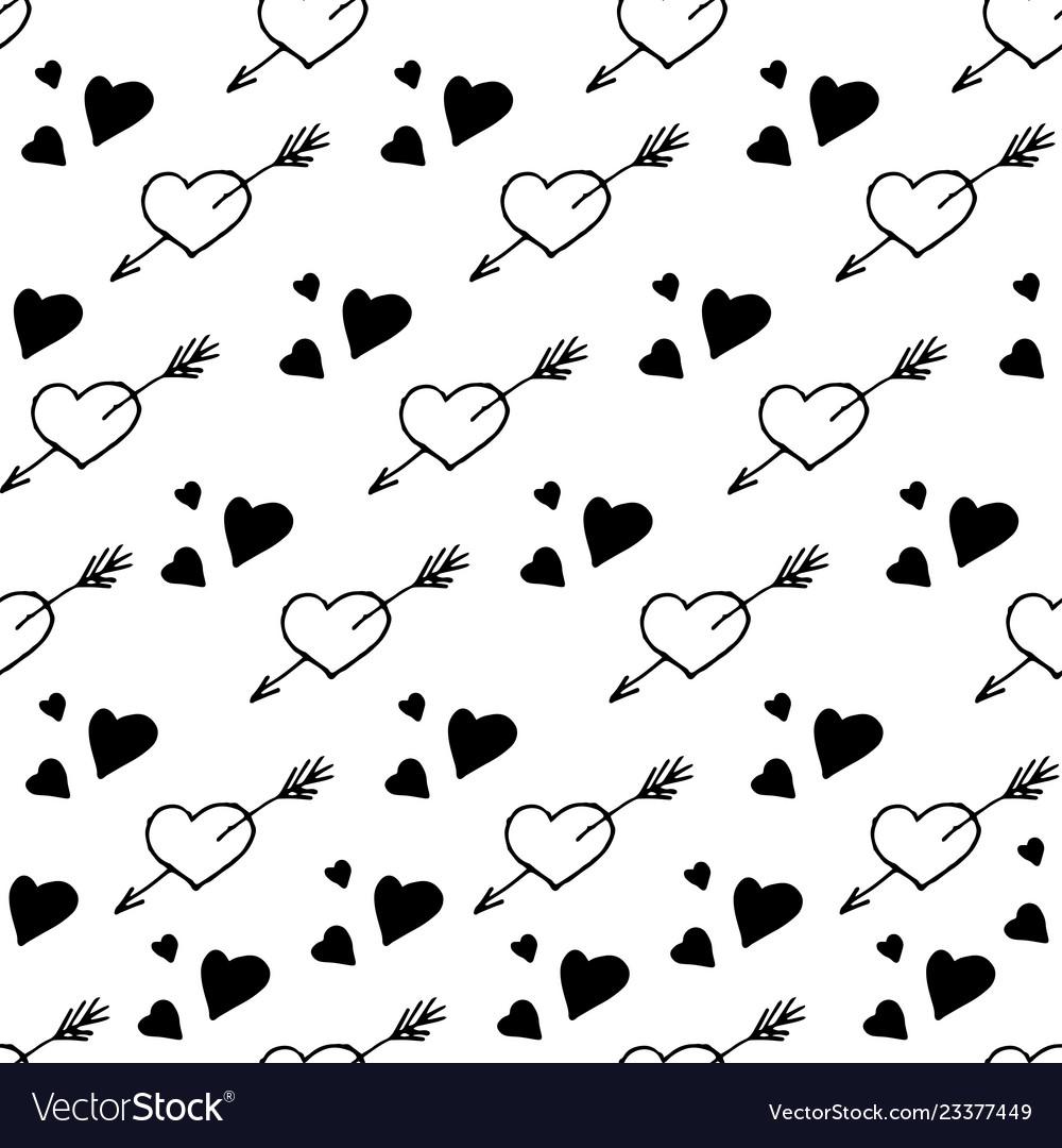 Seamless pattern with hearts stylish