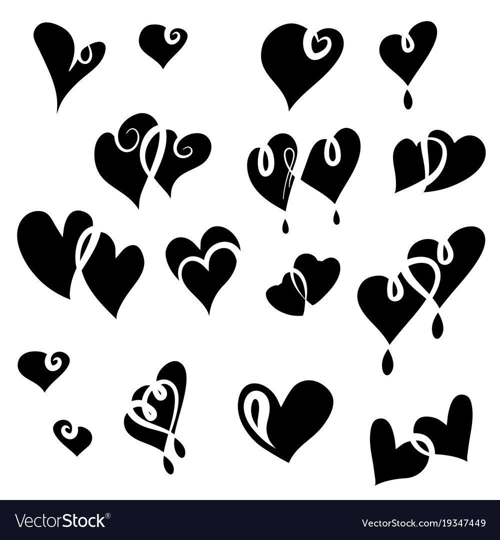 Set of valentine hearts for your design