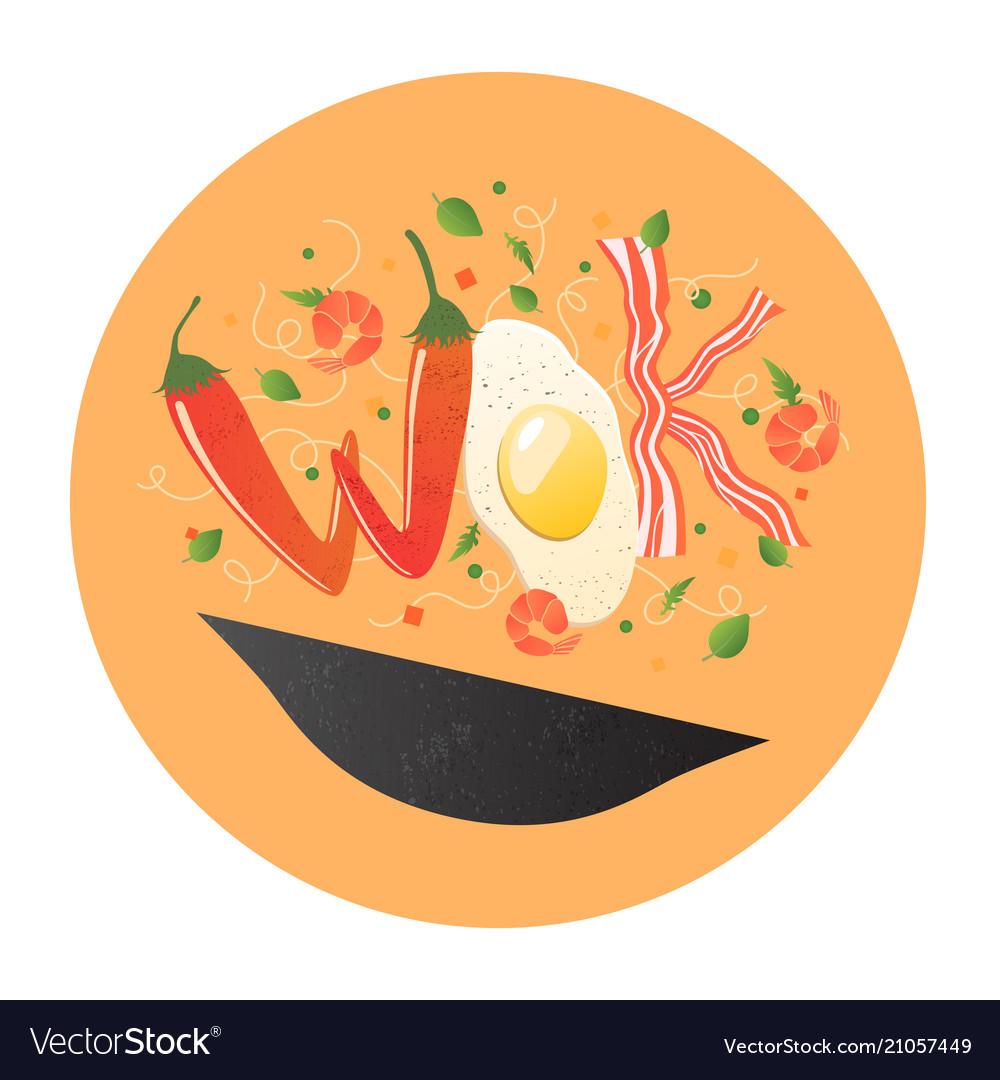 Wok logo for thai or chinese restaurant stir fry
