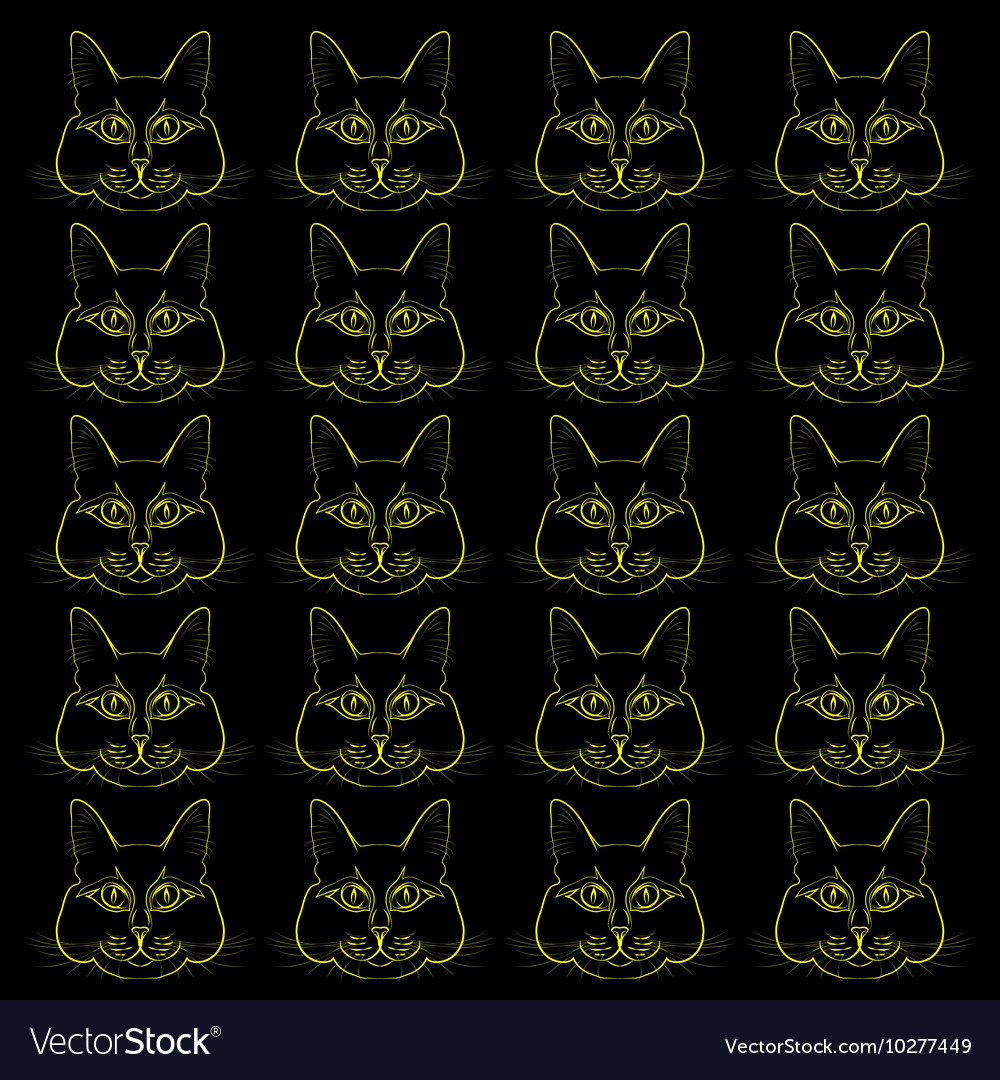 Yellow silhouettes of heads of cats