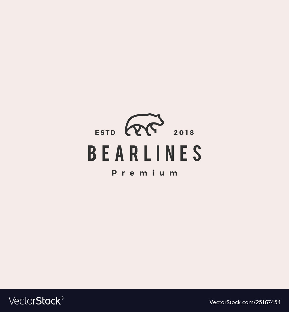 Bear logo line monoline outline icon