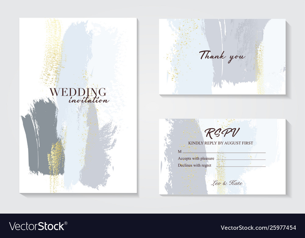 Blue grey pastel greeting brush strokes wedding