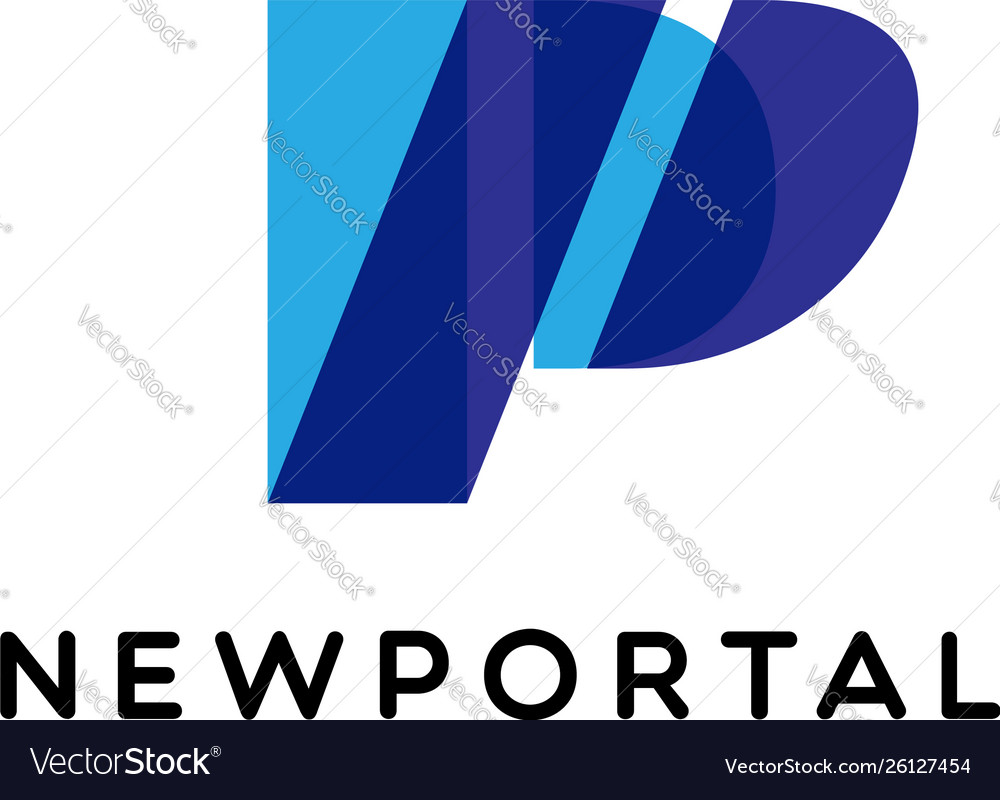 Blue initial letter p business logo template