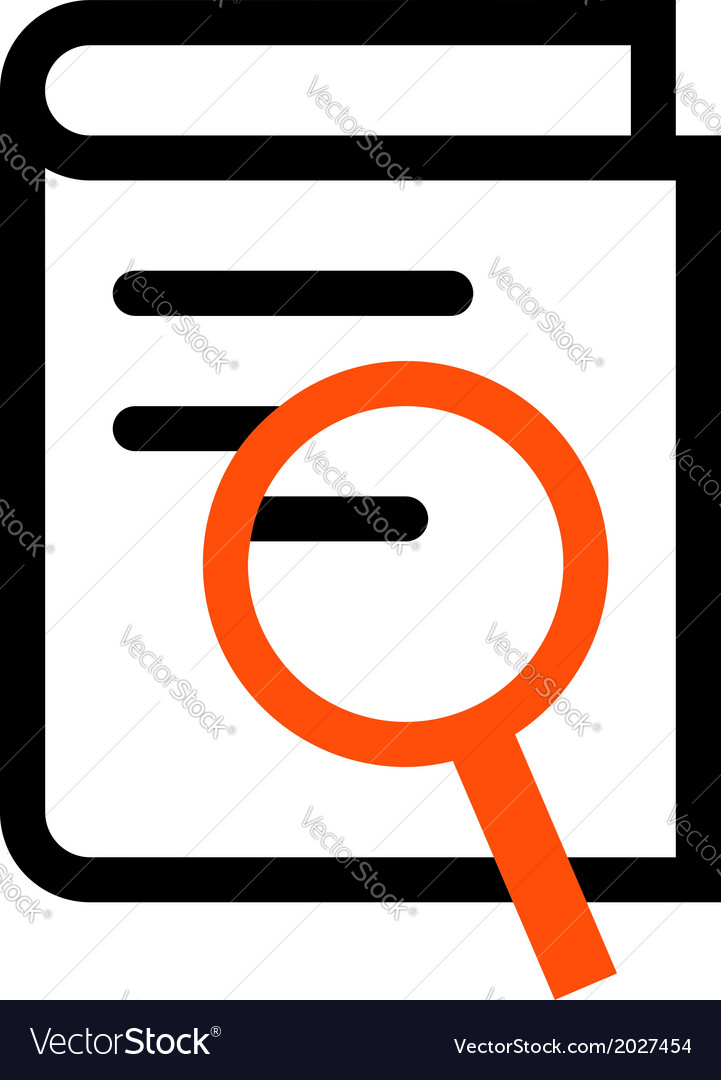 Book search outline icon vector image