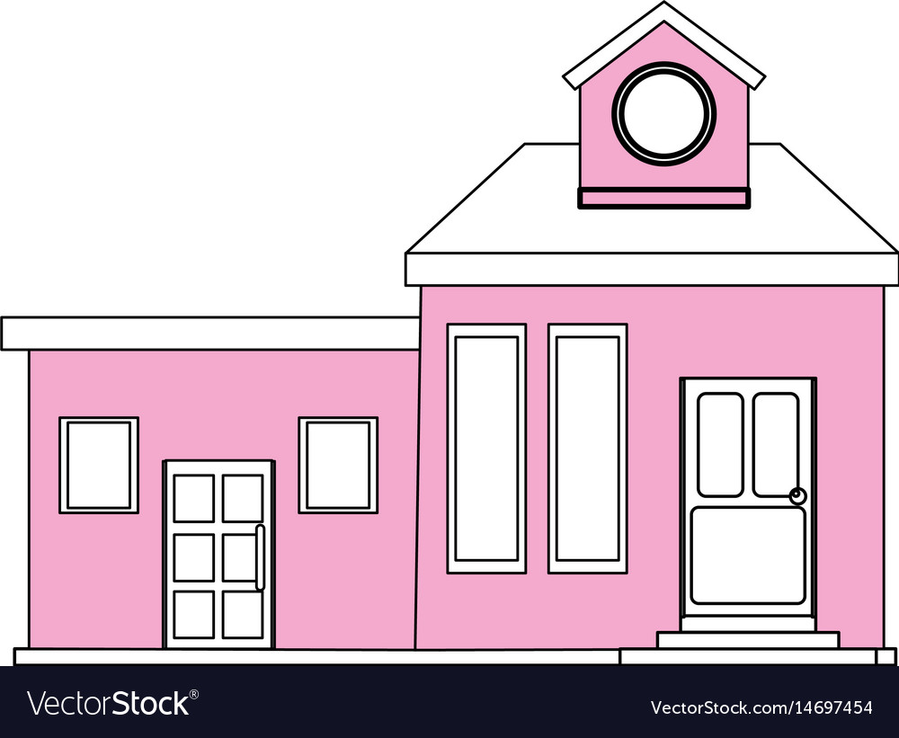 Color silhouette cartoon pink facade modern house Vector Image