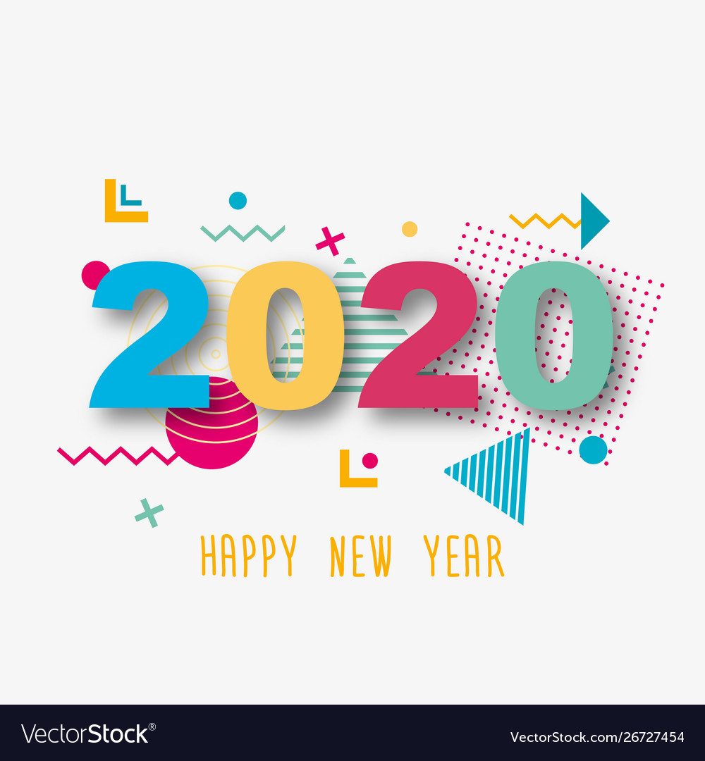 Creative design a new year card 4 on a Vector Image