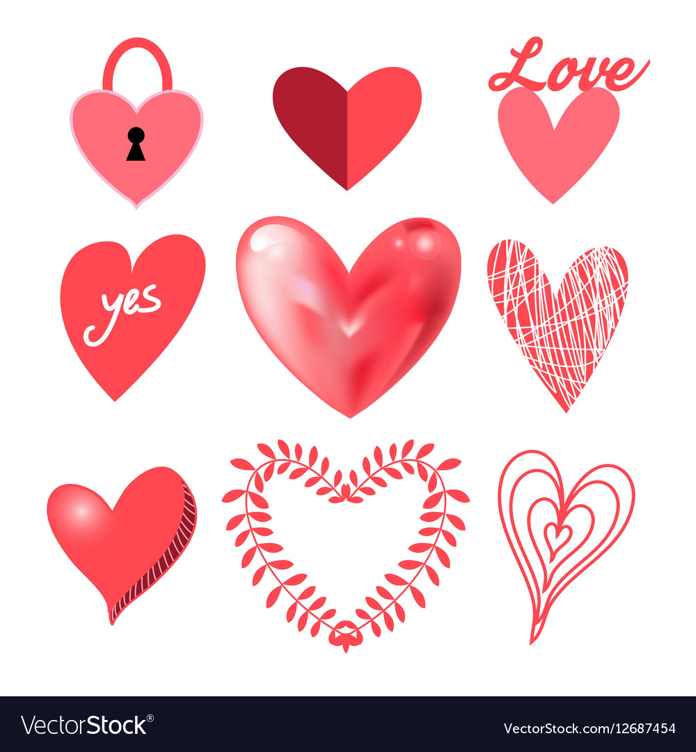Festive collection of hearts vector image