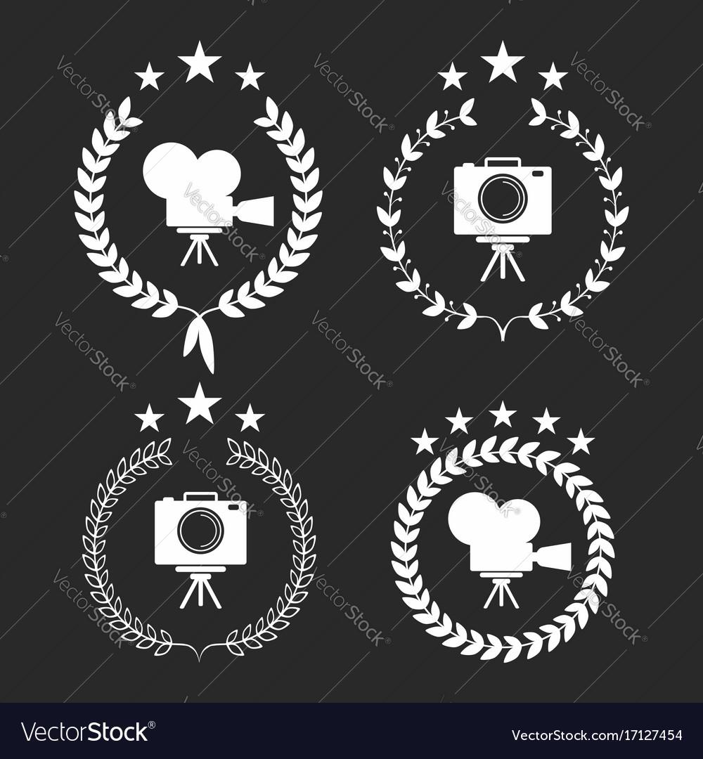 Film awards award laurel wreaths symbols with vector image